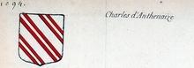 VOLUMES RELIES du Cabinet des titres : recherches de noblesse, armoriaux, preuves, histoires généalogiques. Armorial général de France, dressé, en vertu de l'édit de 1696, parCharles D'HOZIER. (1697-1709). XXXIV Tours, II. page 1094